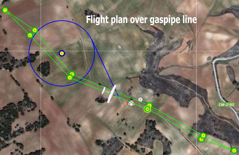 Inspección de gaseoductos mapa plan de vuelo